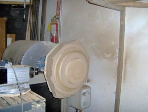 Blank mounted and machining begun
